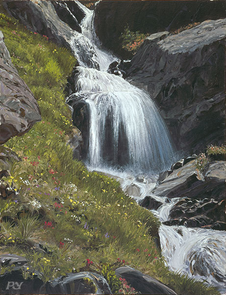 Waterfall above the Kreuzboden Hohenweg, Saas Fee